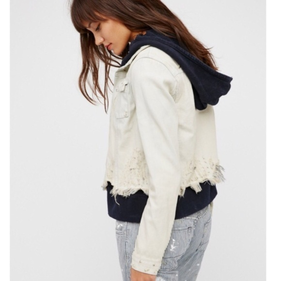 Free People Double Weave Denim Jacket Distressed Layered Hooded Deconstructed